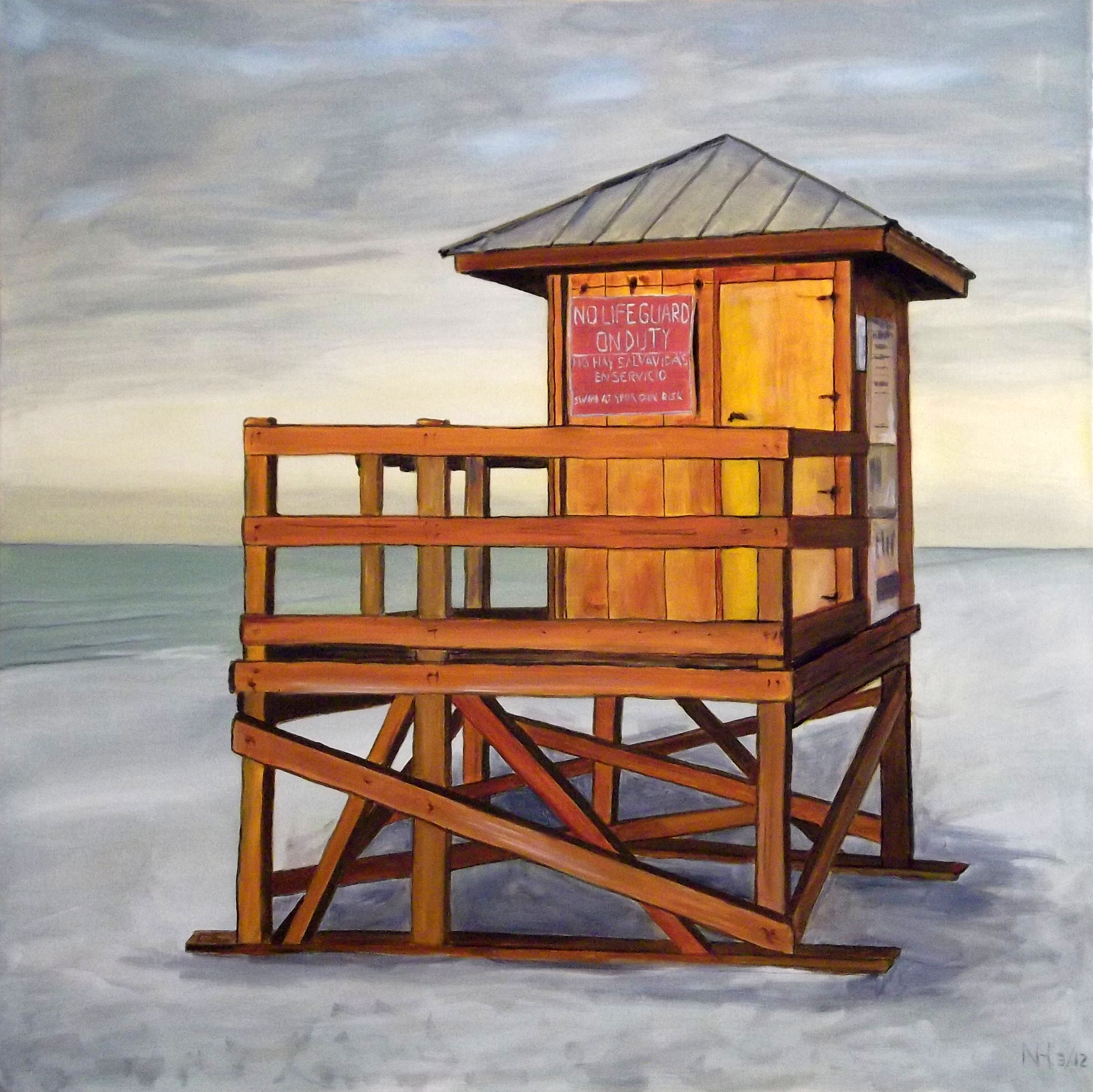 No Lifeguard, Oil on Canvas, 36 x 36 inches, March 2012