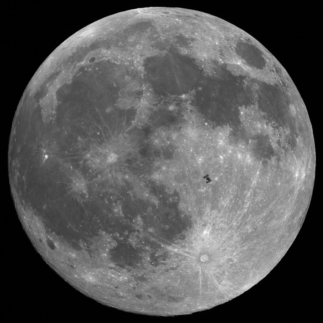 ISS in front of Moon