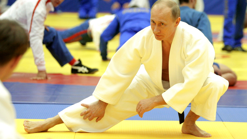 """Russia's Prime Minister Vladimir Putin takes part in a judo training session at the """"Moscow"""" sports complex in St. Petersburg, on December 22, 2010. AFP PHOTO/ RIA-NOVOSTI POOL/ ALEXEY DRUZHININ (Photo credit should read ALEXEY DRUZHININ/AFP/Getty Images)"""
